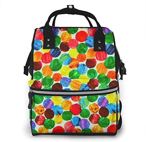 The Very Hungry Caterpillar Abstract Dots Diaper Backpack Large Capacity Baby Bags Multi-Function Zipper Casual Travel Backpacks for Mom Dad Unisex