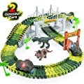 Dinosaur Toys,156pcs Create A Dinosaur World Road Race,Flexible Track Playset and 2 pcs Cool Dinosaur car for 3 4 5 6 Year & Up Old boy Girls Best Gift by Toyk