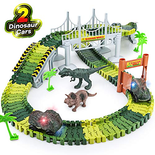 Create A Dinosaur World, Flexible Track Dinosaur Toys Playset ,156pcs Set
