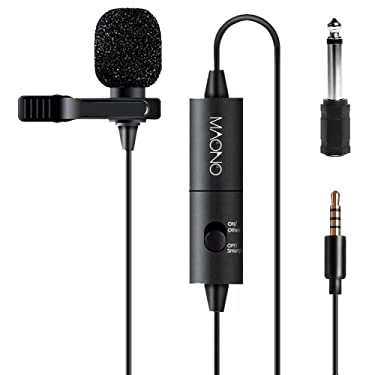Lavalier Microphone, MAONO AU-100 Hands Free Clip-on Lapel Mic with Omnidirectional Condenser for Podcast, Recording, DSLR,Camera, Smartphone, PC,Laptop (236 in)