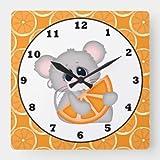Daoyiqi, orologio classico in legno, non ticchettio, sveglio con topolino arancio, orologio da parete per cucina, soggiorn