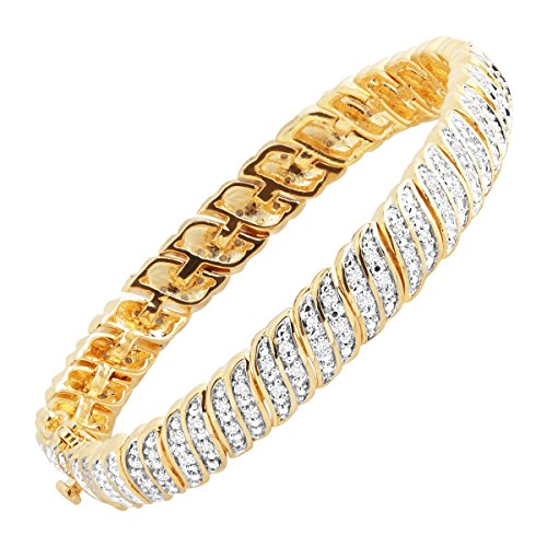 1 ct Diamond 'S' Link Tennis Bracelet in 18K Gold-Plated Brass, 7.25