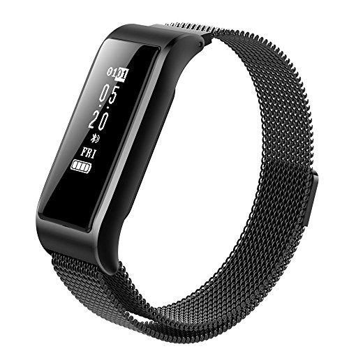 XUEYAN B29 Smart-Armband Herzfrequenz Blutdruck-Schrittzähler, Ganzmetall-Gehäuse, Milan Magnetband, geeignet für die meisten Android- und iOS-Smartphones (Farbe: Schwarz)