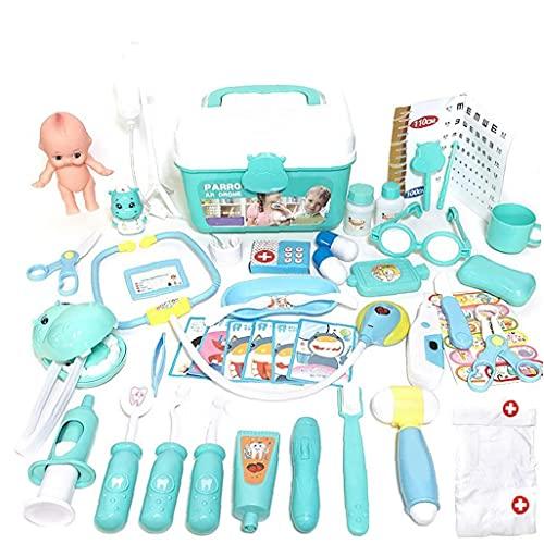 Tuimiyisou Los Médicos para Niños Toy Kit Médico Infantil Playset Enfermeras rol Juegos con Disfraces Dentista Set con Lleva La Caja De Almacenamiento Regalos De Cumpleaños 48pcs (Azul)