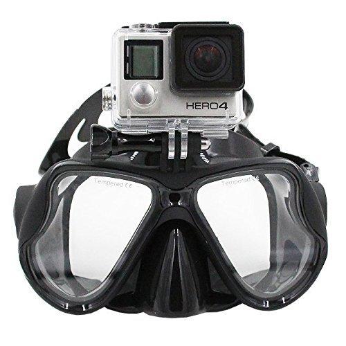 TELESIN Tauchmaske mit Halterung, kompatibel mit GoPro Hero3, 3+ und 4/4 Session, Schwimmmaske für Schnorchel/Schnorcheln Go-Pro (schwarz)