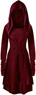 JOFOW Women Hooded Costume Cross Strappy Long Sleeve Tunic Slim Midi Witch Dresses (,)