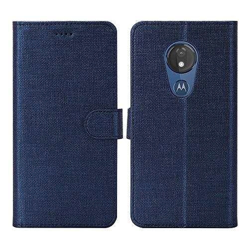 Moto G7 Power Case, Moto G7 Supra Case, Foluu Flip/Folio Cover Wallet Magnetic Closure Card Slots Cash Holder Stand Kickstand Clear TPU Bumper Shockproof Protective Case for Moto G7 Power (Blue)
