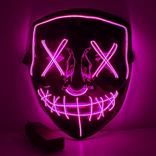 WUJUN Halloween Maske LED Light Wire Cosplay Maske Purge Mask für Halloween Festival Cosplay Halloween Kostüm (lila)