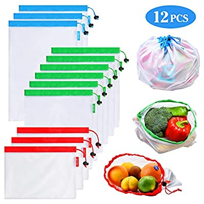 SPIKG Reusable Mesh Produce Bags Washable Eco Friendly Bags for Grocery Shopping Storage Fruit Vegetable Toys(Set of 12 PCS)