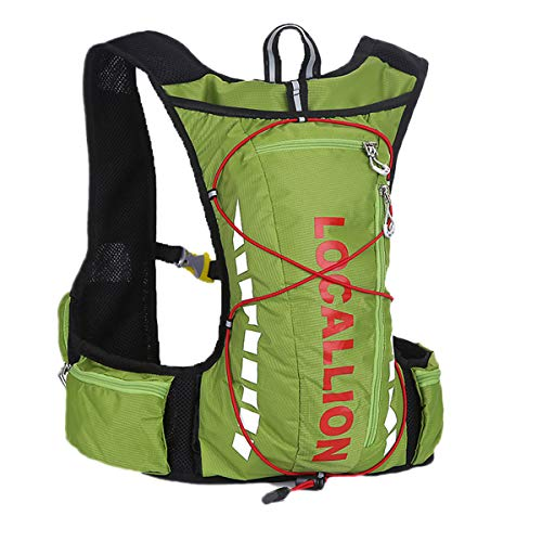 Outdoor LOCALE LION Maratona Leggero Corsa Idratazione Gilet Zaino 10L per Outdoor Running Ciclismo Escursionismo Arrampicata Verde 43x9cm