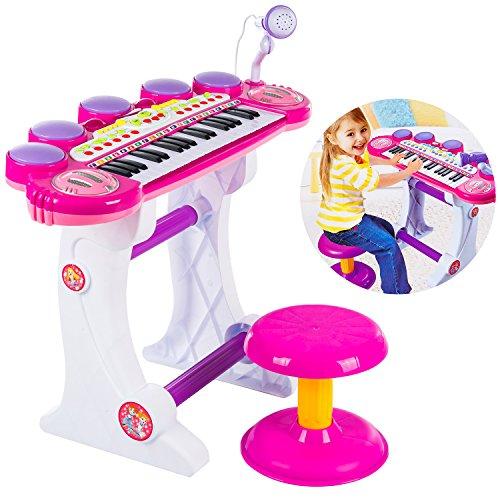 Piano mit Mikrofon und Hocker Piano Kinderpiano Keyboard Spielzeug Klavier KP8285 Musikinstrument Mikrofon NEU Viele Funktionen (KP8285PIN)
