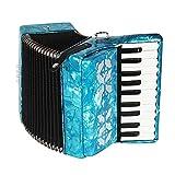 Faceuer Acordeón, Juguetes Musicales, 8 Bajos para Aprender a Tocar el acordeón para Practicar el acordeón(Azul)