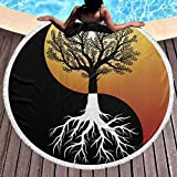 Chinese Yin Yang Tree Round Beach Towel Microfiber Thick Swim Blanket Ultra Soft Water Absorb Circular Mat Quick Dry Shower Towel Cover Up with Tassels for Women Men Boy Girl 59 in