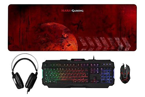 MARSGAMING MCPRGB, Pack Gaming RGB Teclado, Ratón,