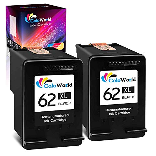 ColoWorld Remanufactured Ink Cartridge Replacement for HP 62XL 62 XL Work with Envy 7640 5660 5540 5661 5642 5640 5640 5663 5544 5542 5549 OfficeJet 5740 250 5745 5746 200 Printer Tray ( 2 Black)