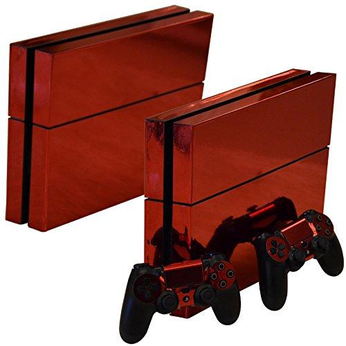 Mcbazel Calcomanías de la Serie Pattern Pegatinas de Vinilo Solo para PS4 original No para PS4 Slim / Pro (Rojo Cromado)