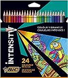 BIC Intensity Triangle Lápices de Colores, Mina de 1.3 mm, Resina sin Madera, Resistente a los Golpes - Colores Surtidos, Pack de 24