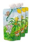 nanafera wiederverwendbare Baby-Quetschbeutel 'Dschungel' | 3er Pack | BPA & PVC frei | Plus kostenlose Rezepte | Ideal für Früchte- & Gemüse-Brei | Für Shakes & Smoothies | Einfach zu befüllen | Leicht zu säubern | 100% Geld-Zurück-Garantie
