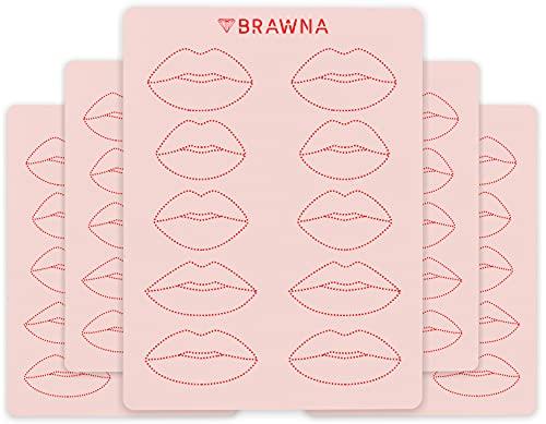 BRAWNA Lip Blush Practice Skin for PMU machine - Double Sided - 5 pack - Microblading Supplies - PMU Supplies - Lip Blush Tattoo Supplies