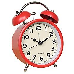 Time Vanguard Retro Double Bell Alarm Clock Bedside Silent Non-Ticking (red)
