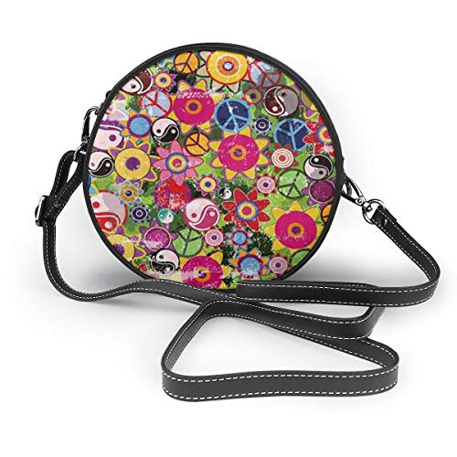 Colorful Hippies Flowers With Peace Sign And Yinyang Crossbody Round Leather Bag Handbags Purse Messenger Bag For Women