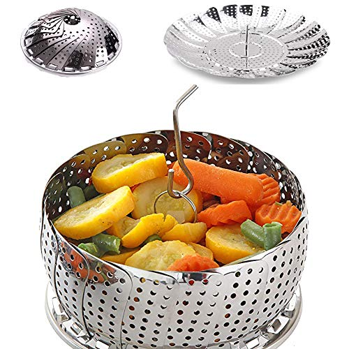 100% telescopic Stainless Steel Steamer Basket Inserts for Pots, Foldable Vegetable Crock Steam For Instant Pot, Fish Veggie Seafood, Crock and Pot.(5.5' to 8.8' Diameter)