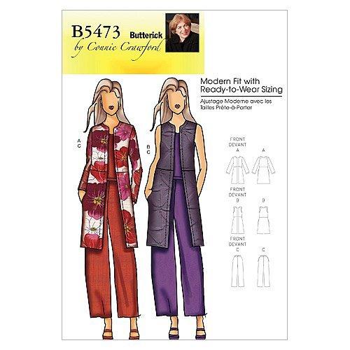 BUTTERICK PATTERNS B5473 Misses'/Women's Jacket, Vest and Pants, Size Woman (XXL-1X-2X-3X-4X-5X-6X)