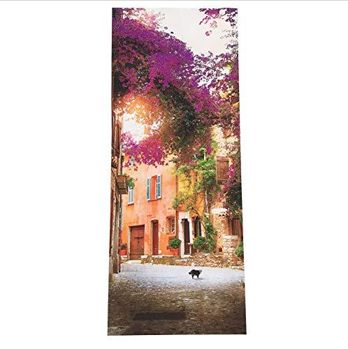 dalongshan Türaufkleber Selbstklebende Wasserdichte Tür-Wand-Wandbild-Tapete des Gartenhaus-3D Für Inneneinrichtung 77 * 200Cm
