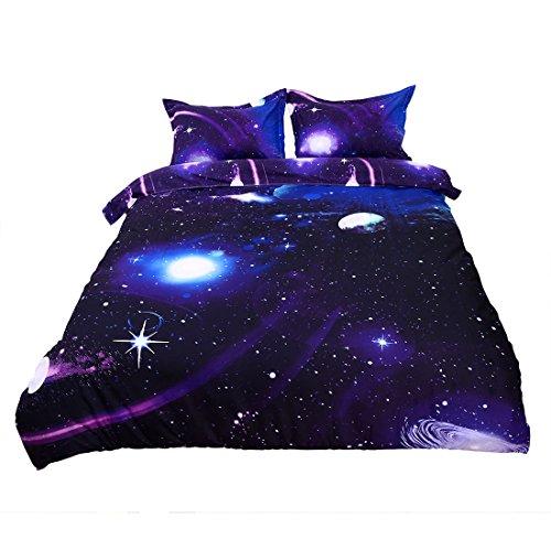 Sourcingmap®, set copripiumino con federe, con motivo galassia/cielo/universo/notte stampato 3D, set singolo/matrimoniale, 50% cotone/50% poliestere/ in cotone/poliestere, Dark Purple, Queen Size 3pcs