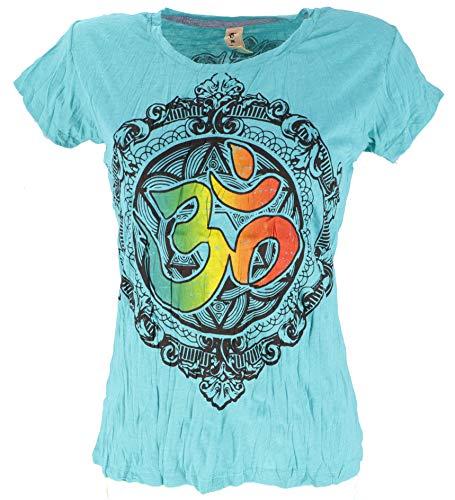 Guru-Shop Baba Camiseta, Mujer, Algodón, Camiseta Estampada, Ropa Alternativa Turquesa/Om L
