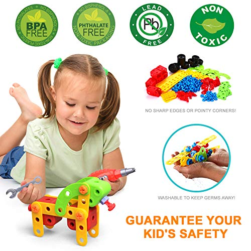 LUKAT STEM Toys Kids DIY Kit, Science Kits Building Toys for Kids, 288 Piece Educational Construction Engineering Learning Toys Set Gift for 3 4 5 6 7 8+ Year Old Boys Girls