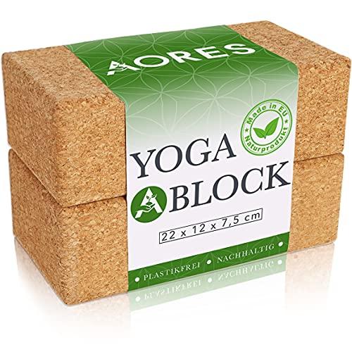 Aores Yoga Block Kork 2er Set - Plastikfrei und Vegan - Inklusive eBook - Ökologisch in Europa hergestellt - Yogaklotz für Yoga, Fitness & Pilates