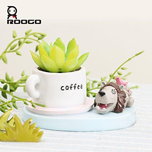 Blumentopf - verschiedene Tiermotive Löwe mit Kaffeetasse
