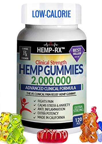 Hemp Gummies Low-Calorie 2,000,000 Clinical Strength Ultra Premium - 120 Fruity Hemp Oil Gummies - Powerful Hemp Candy Supplement Fights Pain, Stress, Inflammation, Insomnia