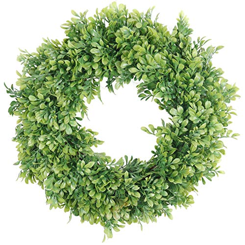 Pauwer Artificial Green Leaves Wreath 18' Boxwood Door Wreath Spring Green Wreath for Front Door Wedding Window Wall Decor (18' Boxwood)