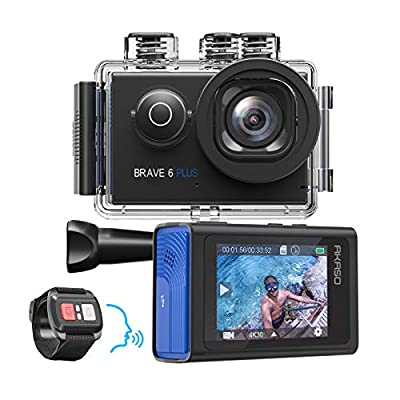 AKASO Brave 6 Plus Native 4K30FPS 20MP WiFi Action Camera with Touch Screen EIS 8X Zoom Voice Control Remote Control 131 Feet Underwater Camera with 2X 1350mAh Batteries and Helmet Accessories Kit by AKASO