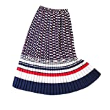 minjiSF Falda larga para mujer, moda verano boho, falda plisada, informal, cintura alta, elástica, estampada, color de contraste, línea A, falda Midi larga rojo S