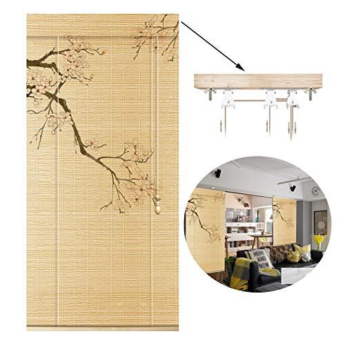 GDMING bamboe jaloezie retro rolgordijn decoratie raam gesneden uit deur gordijn windbeschermer balkon en terras, 2 stijlen, aanpasbare grootte