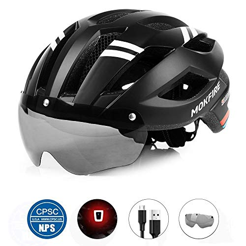 MOKFIRE Adult Bike Helmet with Magnetic Goggles and Rechargeable USB Light, Adjustable Bicycle Helmet for Men/Women Road Mountain Cycling, 21.65-24.41 Inches - Black