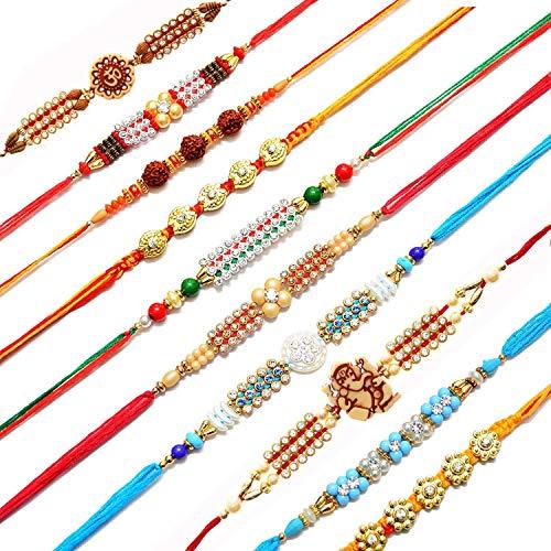 Brown Leaf ® Rakhi Raksha Bandhan Gift Band Moli Bracelet Wristbands Elegant Kudan Stone Pearl Glitter Rakhi Designer Rakhi for Brother/bhaiya with Roli Tilak Pack