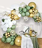 SUWEN 157PCS DIY Olive Green Balloon Arch Garland Kit Lime Green Gold Metallic White Latex Balloon Decorations for Birthday Baby Shower Party Decor