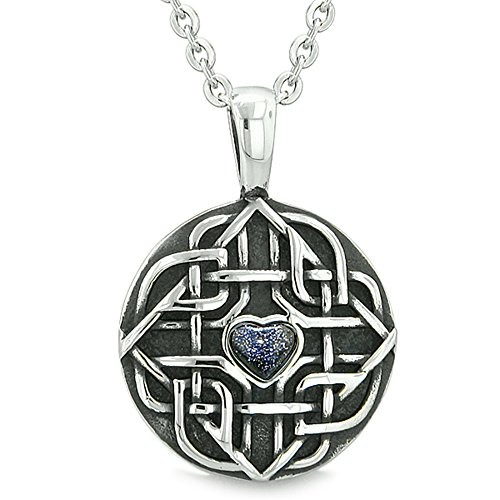 BestAmulets Amulet Celtic Shield Knot Magic Heart and Protection Powers Blue Goldstone Pendant 18 Inch Necklace