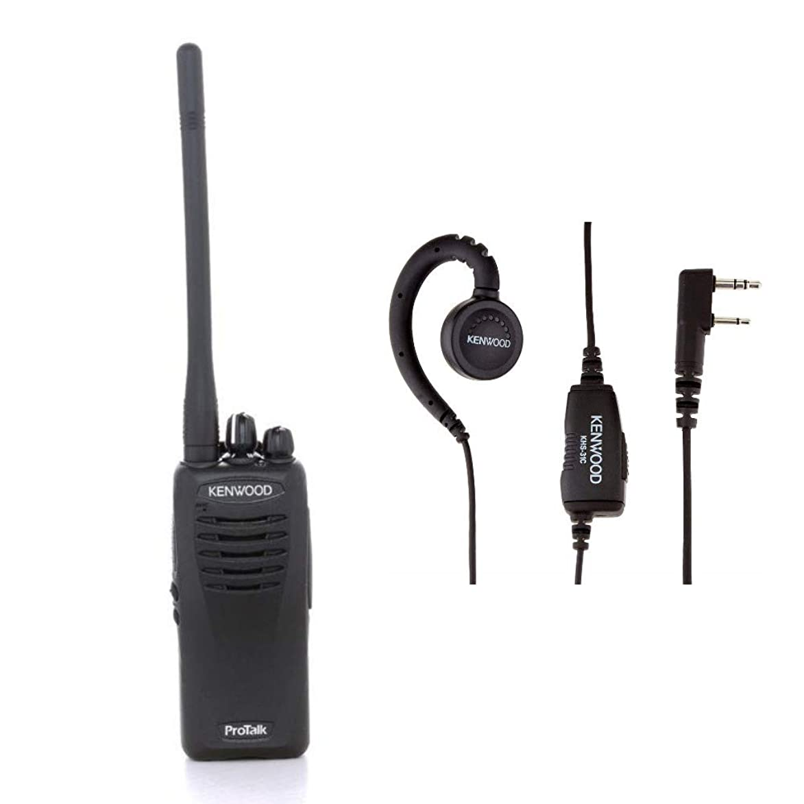 Kenwood ProTalk VHF 2-Watt 16-Channel Portable 2-Way Radio with Ear Loop Earpiece Bundle