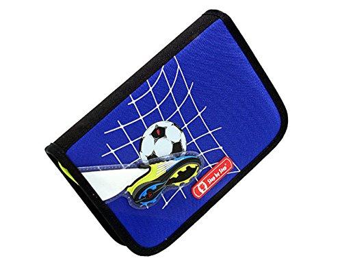 Hama Top Soccer Step Federmäppchen komplett mit Buntstifte, Lineal usw, Farbe Blau, mit Fußball.