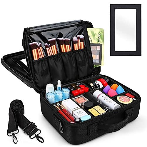 InnoGear Kosmetiktasche, Professionelle Kulturbeutel mit große Räume, Portable Doppelschicht-Schminktasche Aufbewahrungstasche mit Spiegel und Band, Geeignet für Reise, Dienstreise