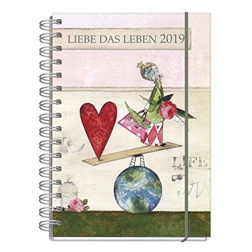 Jahreskalender, Kalender Buch für 2019, je Woche eine Seite, mit lebenslustigen Motiven, 128 Seiten, 1 Seite pro Woche, Termine, Notizen, Spiralbindung mit Gummiband, DIN A5