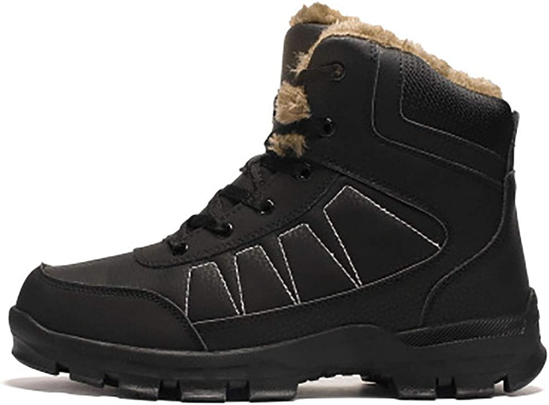 DLBJ Men's Snow Boots High Help PlusVelvet Warm Wear-Resistant Non-Slip Rubber Booties,Black,EU41 UK7