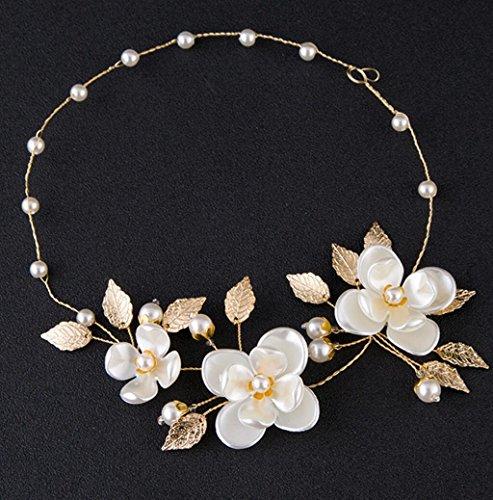 CYY Braut Perle Blume Haar mit Foto-Studio Brautkleid Zubehör Kopfschmuck Glas Blätter Haarbänder Gold/Silber, Gold