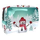 Neceser de Maquillaje Estuche Escolar para Cosméticos Bolsa de Aseo Grande,3D Feliz muñeco de Nieve esquiando Fondo de Vacaciones de Invierno Actividad al Aire Libre