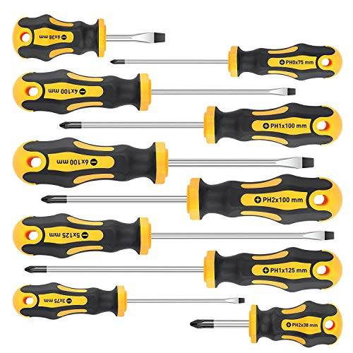 Amartisan 10-Piece Magnetic Screwdrivers Set, 5 Phillips and 5 Slotted Tips Professional Cushion Grip Screwdriver Set (10-Piece)
